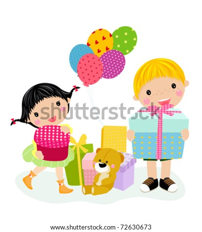 kids and gift box - stock vector