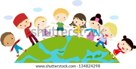 kids and globe - stock vector