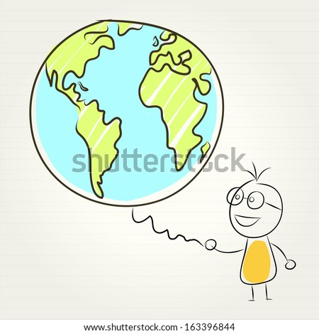 kids and globe concept , vector illustration - stock vector