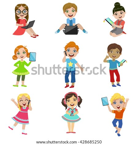 Kids And Modern Technology Set Of Bright Color Isolated Vector Drawings In Simple Cartoon Design On White Background