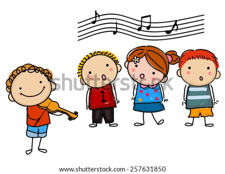 kids and music - stock vector