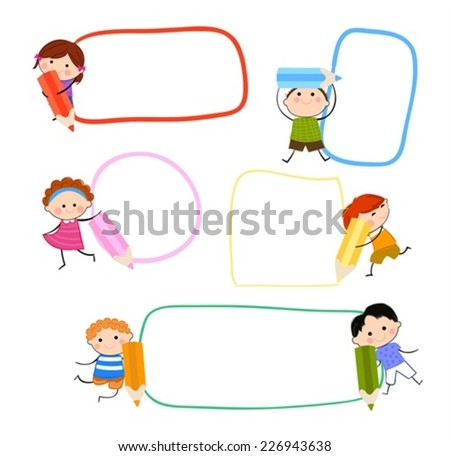 Kids and pencils - stock vector