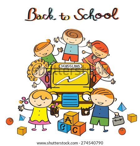 Kids and School Bus back to School, Drawing Style, Kindergarten, Preschool, Education, Learning and Study Concept - stock vector