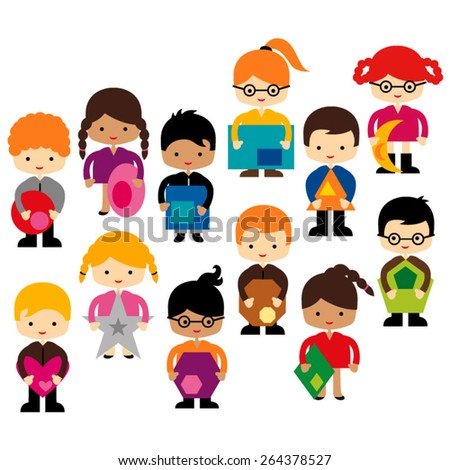 Kids and shapes vector.