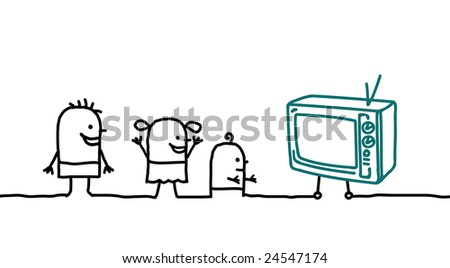 kids and television - stock vector
