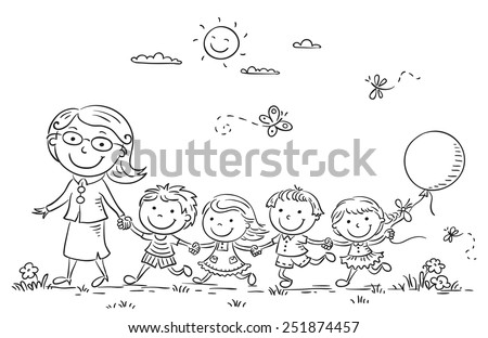 kids and their teacher on a walk in the kindergarten black and white outline - Outline Drawing For Kids