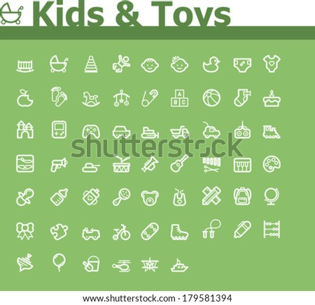 Kids and toys icon set - stock vector