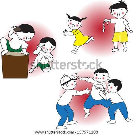 Kids are fighting and teasing each other set illustration - stock vector