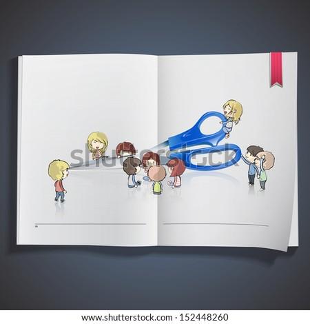 Kids around blue scissors printed on book. vector design.  - stock vector