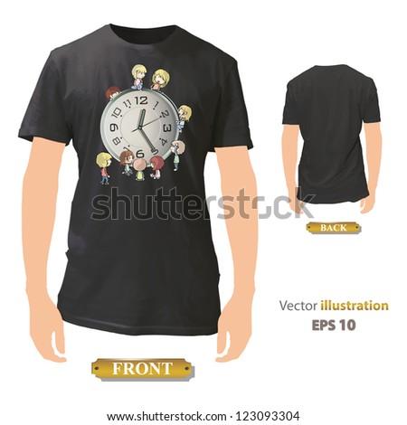 Kids around clock printed on black shirt. Vector design. - stock vector