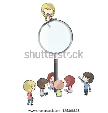 Kids around magnifying glass. Vector design. - stock vector