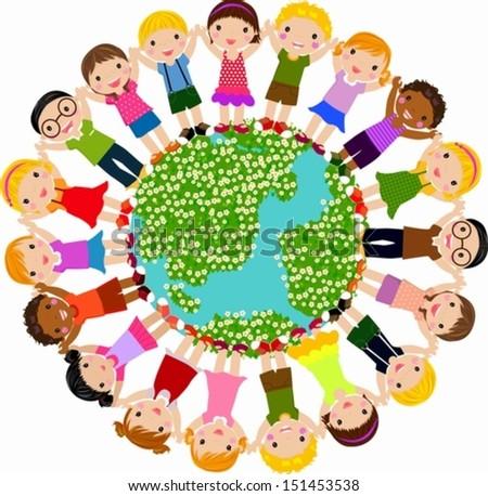 Kids around the globe - stock vector