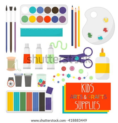 Kids artistic materials set art crafts stock vector for Waste material craft items