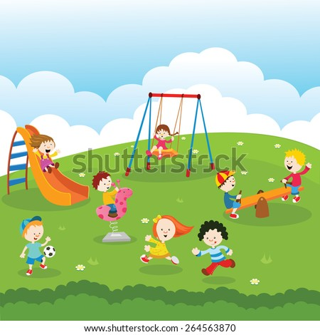 Kids At Park - stock vector