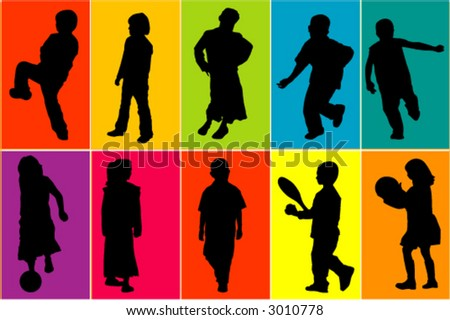 Kids at play - vectors - colors can be changed - stock vector
