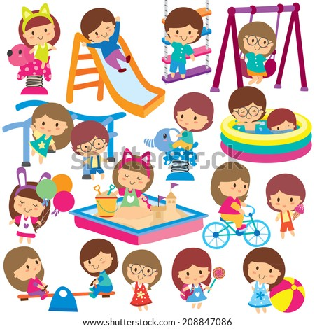 kids playground clip art set stock vector royalty free 208847086 rh shutterstock com Free Horse Clip Art playground clip art free printable
