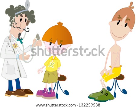 Kids at the doctor - stock vector
