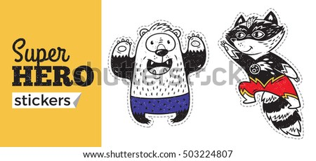 Kids badges with bear and raccoon in superheroes costume. Vector illustration isolated on white background. Set of stickers in cartoon comic style.