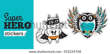 Kids badges with fox and owl in superheroes costume. Vector illustration isolated on white background. Set of stickers in cartoon comic style.