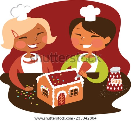 Kids baking cookies - stock vector