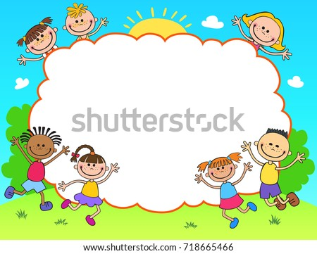 Kids Banner Template Horizontal Poster Background Design Happy Nature Children
