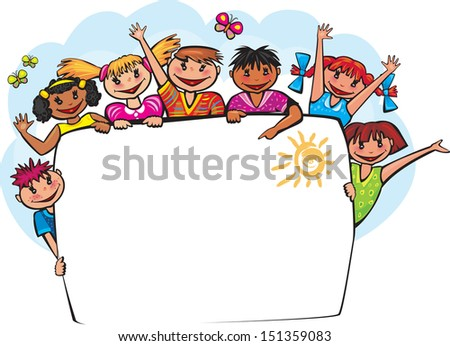 Kids Behind Banner Stock Vector 151359083  Shutterstock. Halloween Themed Lettering. I Am A Child God Lettering. Pound Signs Of Stroke. Bicycle Murals. Positive Quote Lettering. Peel And Stick Stickers. Ouizi Murals. Sniper Murals