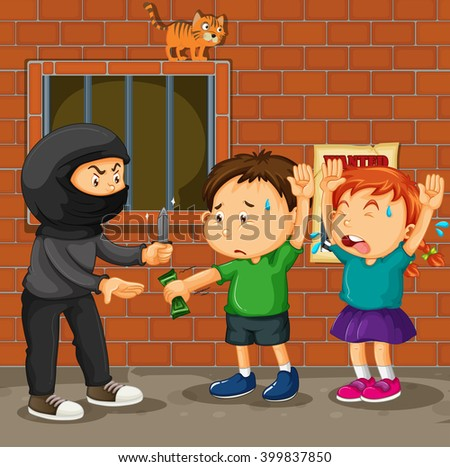 Kids being robbed on the street illustration
