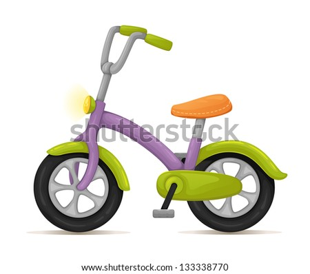 Kids bicycle. Cute purple and green bicycle. - stock vector
