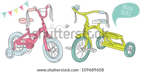Kids bicycles, a girls bike and a  tricycle - stock vector
