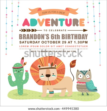 Kids birthday invitation card cute cartoon stock vector 449945380 kids birthday invitation card with cute cartoon animal stopboris Images