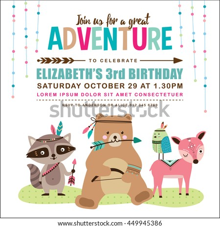 Kids birthday invitation card cute cartoon stock vector 449945386 kids birthday invitation card with cute cartoon animal stopboris Images