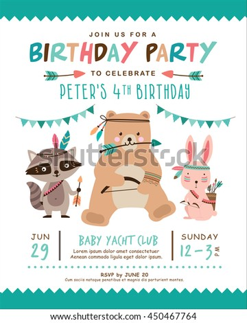 Birthday invitation stock images royalty free images vectors kids birthday invitation card with cute cartoon animal stopboris Images