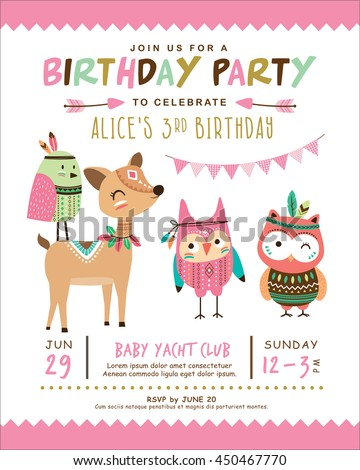 Kids birthday invitation card cute cartoon stock vector 450467770 kids birthday invitation card with cute cartoon animal stopboris Images