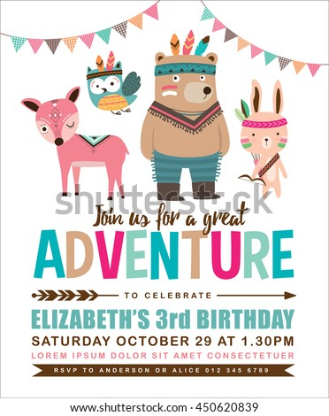 Kids birthday invitation card cute cartoon stock vector 450620839 kids birthday invitation card with cute cartoon animal stopboris Images