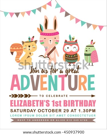 Kids birthday invitation card cute cartoon stock vector 2018 kids birthday invitation card with cute cartoon animal stopboris Images