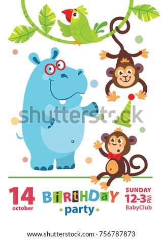 Kids birthday invitation card cute cartoon stock photo photo kids birthday invitation card with cute cartoon animal stopboris Images