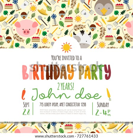 Kids birthday invitation card cute cartoon stock vector 727761433 kids birthday invitation card with cute cartoon farm animals stopboris Images