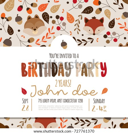 Kids birthday invitation card cute cartoon stock vector 727761370 kids birthday invitation card with cute cartoon forest animals stopboris Images