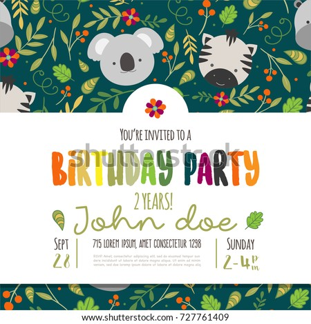 Kids birthday invitation card cute cartoon stock vector hd royalty kids birthday invitation card with cute cartoon jungle animals stopboris Images