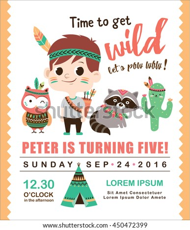 Kids birthday invitation card cute little stock vector 450472399 kids birthday invitation card with cute little boy and friends stopboris Images