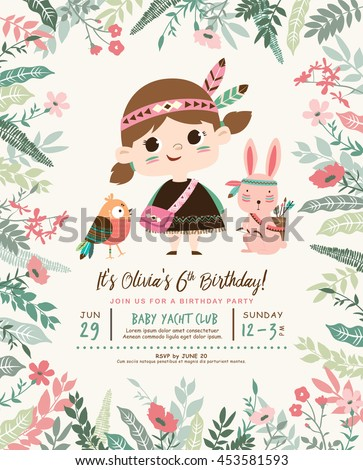 Kids birthday party invitation card with a cute little girl and friends