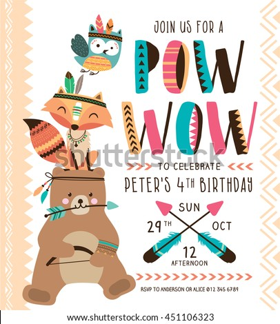 Kids birthday party invitation card cartoon stock photo photo kids birthday party invitation card with cartoon animals stopboris Images