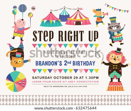 Kids Birthday Party Invitation Card Circus Vector 632475710 – Cards Party Invitation