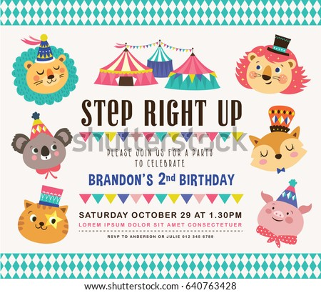 Kids Birthday Party Invitation Card Circus Vector 632475644 – Birthday Party Invitation Cards