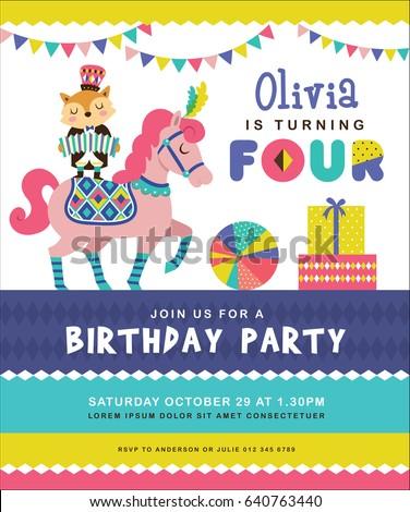 Kids birthday party invitation card circus stock vector 640763440 kids birthday party invitation card with circus theme stopboris Gallery