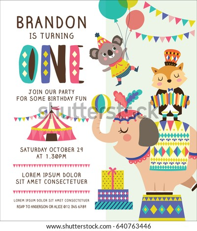 Kids Birthday Party Invitation Card Circus Vector 640763446 – Kids Birthday Party Invite
