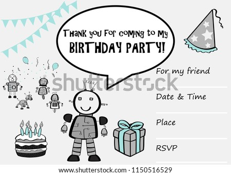 Kids birthday party invitation card sentence stock vector 1150516529 kids birthday party invitation card with sentence thank you for coming to my birthday party stopboris Image collections