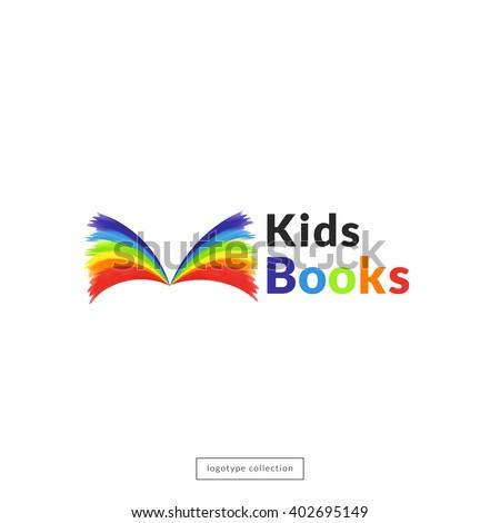 kids book store logo design template vector layout rainbow fairy tale emblem - Kids Book Template