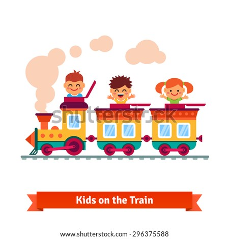 Kids, boys and girls riding on a cartoon train. Flat style vector illustration. - stock vector