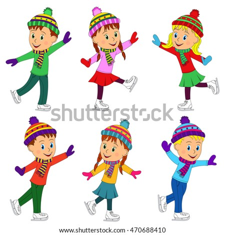 kids, boys and girls skating collection, illustration, vector
